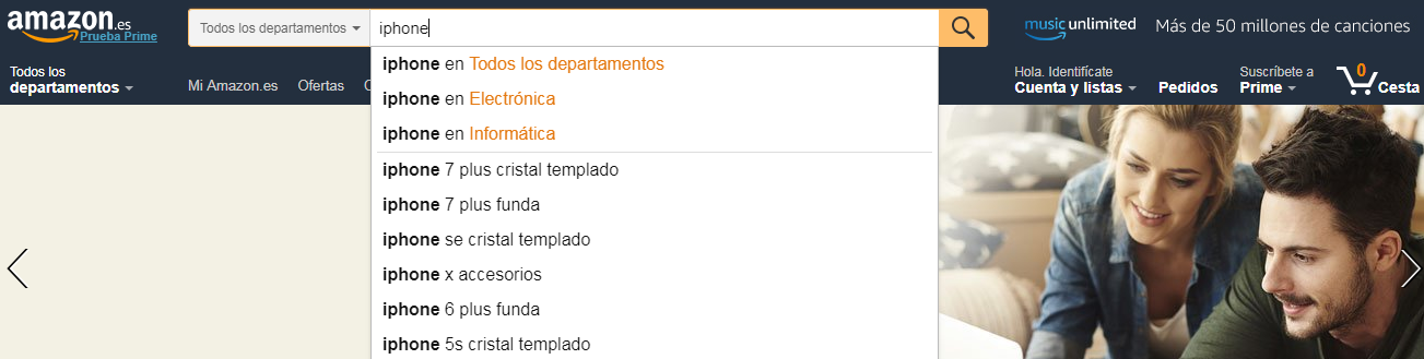 buscador amazon filtrado por categorias