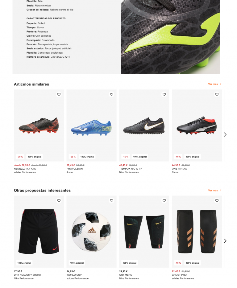 soccer boots product page